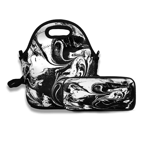 Lunch tote Bag and Pencil Case set 29 black and white liquid texture watercolor hand drawn marbling illustration abstract backgro for work student weekend picnic travel beach camping fishing