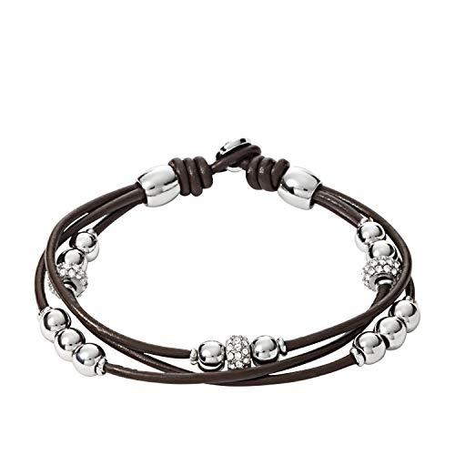 Fossil Women's Leather Bracelet, Color: Silver/Brown (Model: JA6068040)