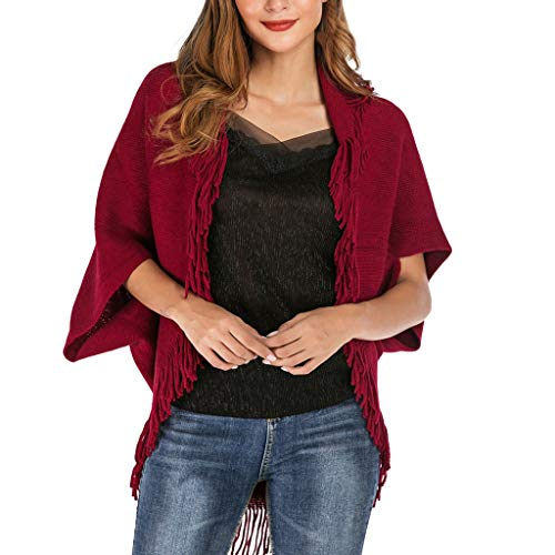 Affordable KYLEON Women Sweaters Casual Tassels Poncho Wrap Cardigan Open Front Cape Cloak Shawl Kni...