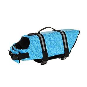 KOFOHON Dog Life Jacket,Summer Pet Safety Reflective Saver Preserver Floatation Vest with Rescue Handle,Adjustable Belt for Swimming,Boating,Surfing and Kayaking