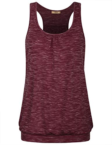 Miusey Summer Clothes for Women,Misses Racerback Halter Sports Top Round Neck Sexy Plus Size Workout Shirts Comfy Tees Cut Out Sleeve Pin Tuck Classy Stretchable Cami Tank Wine XL