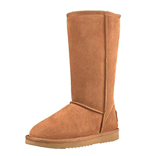 Shenduo Zapatos Invierno - Botas de Piel para Mujer de caña Alta Forradas Planas clásicas DA5815 Castaña 39