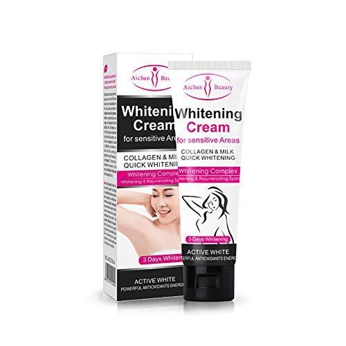 Crema blanqueadora para Piel Oscura, Cuello, Zonas sensibles, Codos, Muslos Interiores, Rodillas y Axilas, Crema para el Cuidado de la Piel