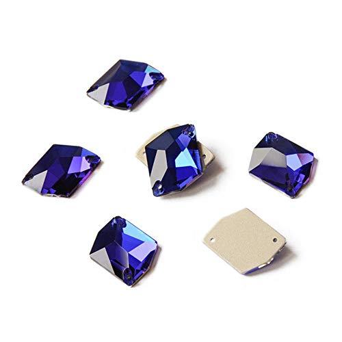 PENVEAT Elemento de Cristal de Cristal K9 AB Esmeralda Fucsia Coser Diamantes de imitación Charm Rhinestones para la decoración de la joyería de la Ropa, Capri Blue, 16x20mm 9pcs