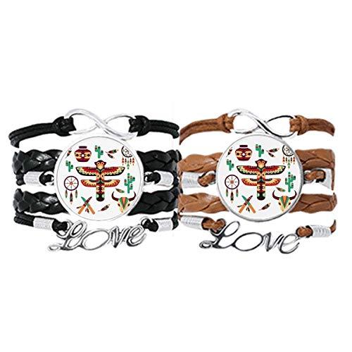 DIYthinker - Pulsera de piel tradicional americana, atrapasueños indios, correa de mano, pulsera de cuerda, doble juego de regalo