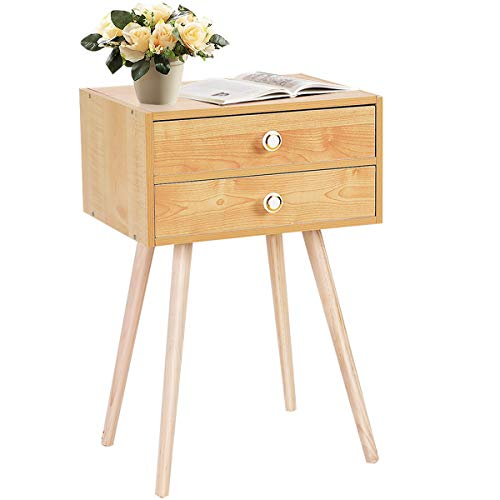 Giantex Nightstand W/2 Drawers for Bedroom Living Room Small Spaces Modern Home Furniture Simple Natural Legs Storage End Side Tables (1, Natural)