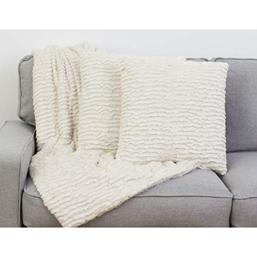 Thro by Marlo Lorenz Throw Pillow and Blanket, Antique White