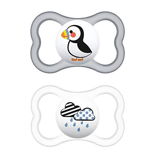 MAM Supreme Schnuller im 2er-Set, Babyschnuller für eine gesunde Zahn- und Kieferentwicklung, beugt Hautreizungen vor, mit Schnullerbox, 6-16 Monate, Papageitaucher/Wolke