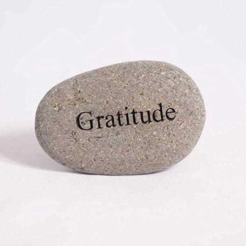 Garden Age Supply Gratitude Engraved Stones Natural Beach Pebble Inspirational Word Stones