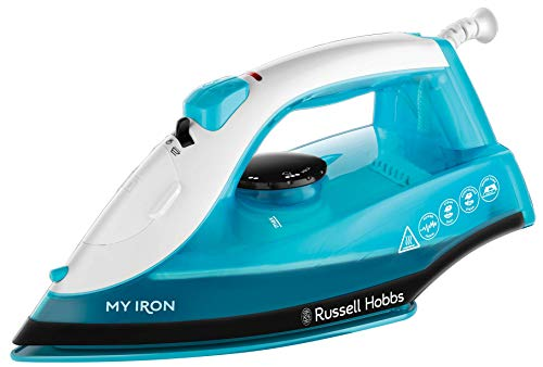 Russell Hobbs My Iron Steam Iron, Ceramic Soleplate, 260 ml Water Tank, Self-Clean Function and Two Metre Power Cable, 1800 W, Blue and White, 25580