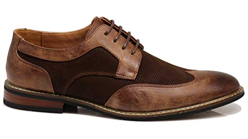 Titan01 Men's Spectator Tweed Plaid Two Tone Wingtips Oxfords Perforated Lace Up Dress Shoes (10.5 D(M) US, Brown (06))