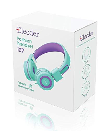Elecder i37 Kids Headphones Children Girls Boys Teens Foldable Adjustable On Ear Headphones 3.5mm Jack Compatible iPad Cellphones Computer MP3/4 Kindle Airplane School Tablet Green/Purple