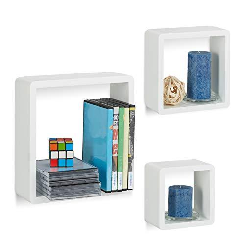 Relaxdays Wandregal Cube 3er Set, quadratische MDF Wandboards, belastbare Schweberegale für das Wohnzimmer, weiß