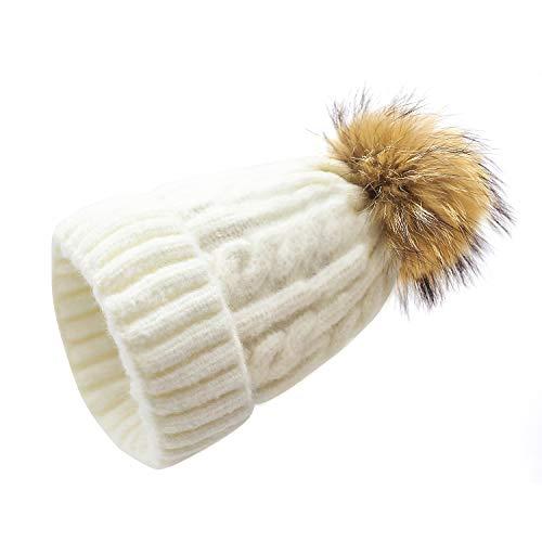 Ella Norman Mädchen Damen Winter Strickmütze Beanie Cap Wool Warm Super Soft mit abnehmbarem Kunstpelz Pompom Outdoor Ski Snowboard Hut für Damen Milk White