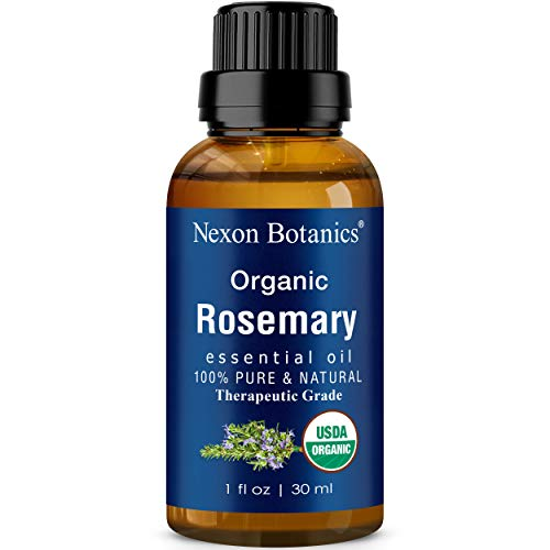 Organic Rosemary Essential Oil 30 ml - Certified USDA Pure, Natural Therapeutic Grade Rosemary Oil - Great for Aromatherapy, Skin, and Hair Care from Nexon Bortanics