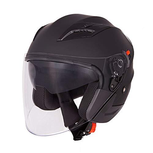 Vinz Navarra Motorradhelm | Rollerhelm Jethelm | Jet Helm Schwarz Matt | in Gr. XS-XL | Helm mit Visier und Sonnenblende | ECE zertifiziert