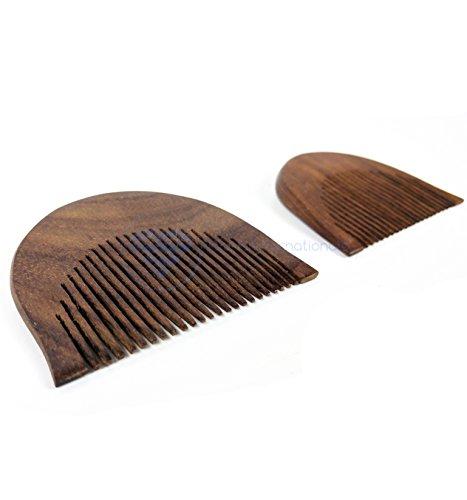 """Peignes et brosse à cheveux en bois de rose de première qualité, finement conçus Barbe queue queue moustache   Nagina International (Ensembles 3"""")"""
