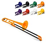 pBone Plastic Trombone with Mouthpiece and Carry Bag - Bb Student Beginner - Orange
