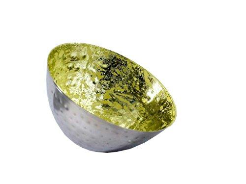 Hochwertige & Wunderschöne Schwimmschalen/Metall Schwimmlichter - Tolle Dekoration - Deko Teelichthalter/Schwimmwindlicht für Teelicht/Kerzenhalter (Groß: Ø 12,5cm - 2 Stück, Silber - Grün)
