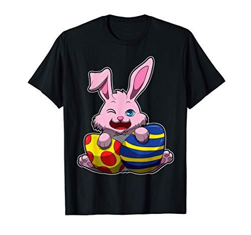 Coniglietto di Pasqua carino con uova colorate - Coniglio di Maglietta