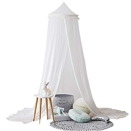 STKASE Bed Canopy for Children, for Girls Bed or Boys – Hideaway Tent for Kids Rooms or Cots. Nursery Decoration – Slightly Sheer Drapes – for Child, Play, Reading,White