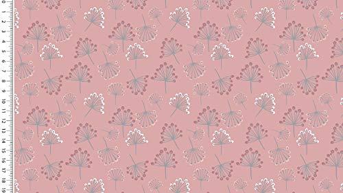 Die Stofftante Baumwoll Jersey Dandelion, Altrosa 50 x 150 cm Meterware