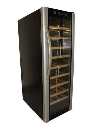 HOMEIMAGE Thermo Electric Wine Cooler with Wooden Rack & Stainless Steel Door Handle for 30 Bottles - HI-30T