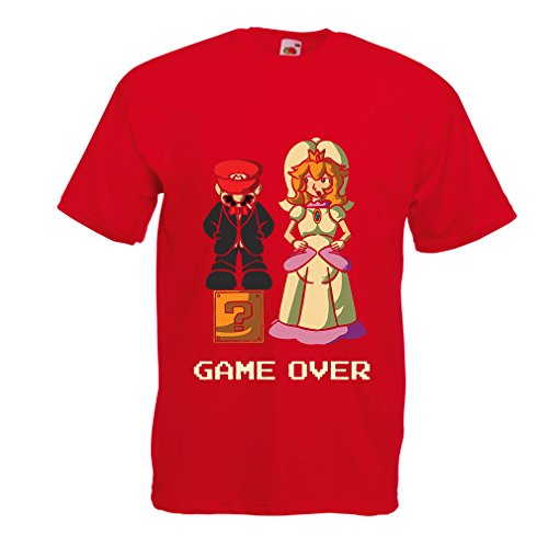 lepni.me N4441 T-Shirt pour Hommes The Game is Over (Medium Rouge Multicolore)