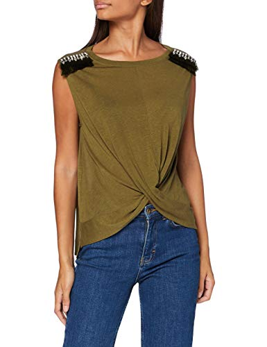 Guess Atena Top Camiseta, Verde, M para Mujer