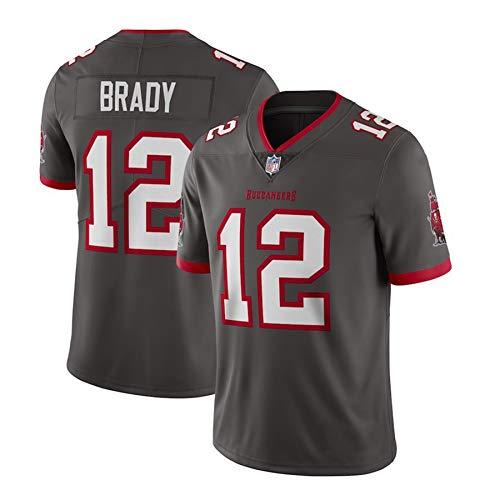 WFGY Herren NFL Pirates 12# Brady Buccaneers Trikot, 100% Polyester Bestickte Version Atmungsaktiv Und Schweißableitend, Ehre Bis Zum Ende,Grau,L