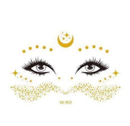 JZLMF New Gold Face Temporäre Tätowierung Wasserdicht Blockierte Sommersprossen Make-up Aufkleber Eye Decal Großhandel