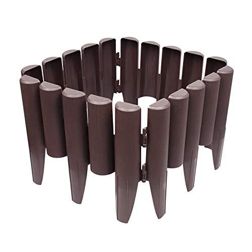 Froadp 20 Stück Rasenkante Kunststoff, 28x24cm Plastik Beetumrandungen Set, Flexibler Beeteinfassung mit Holz Optik, Braun Beetzaun für Obstgärten, Beete, Wege(Gesamt 5,6m)
