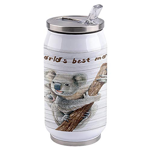 12 oz Vacuum Insulated Stainless Steel Tumblers with Lid and Straw Cute Koala Baby World's Best Mother Double Wall Tumbler Reusable Cups Travel Mug for Sports Camping Driving School, Wood