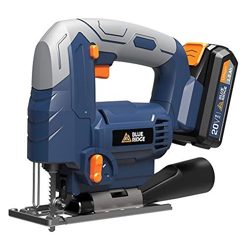 Blue Ridge BR2802U 20V MAX cordless jig saw with lithium battery and charger, Variable speed,