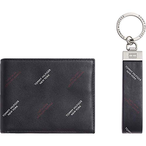 TOMMY HILFIGER Mini CC Wallet Keyfob Box diagonale print Tommy Navy