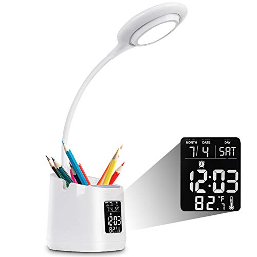 Lampe de Bureau LED, USB Rechargeable Étude Lumière, 3 Modes D'éclairage Stepless Dimmable Contrôle Tactile Lampe de Table Réveil, Affichage de Calendrier et de Température Porte Stylo Office Lamp