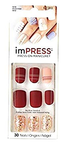 Kiss imPress Press-On Manicure Matte Burgundy Nails 62308 Next Wave (Plaid Design)