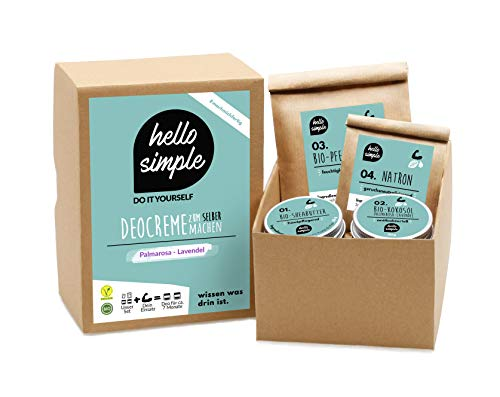 hello simple - DIY Deocreme/Deodorant zum Selbermachen (150 g, 2 Stück), Naturkosmetik ohne Aluminium, vegan, bio, plastikfrei (Palmarosa-Lavendel)