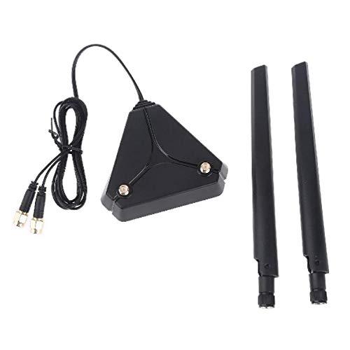 Sara-u Antena omnidireccional de 360 grados 2 banda dual de alta ganancia 2.4G+ 5G CA 6DB antena con cable de extensión de 1.2 metros base caja de transmisión conector controlador recinto