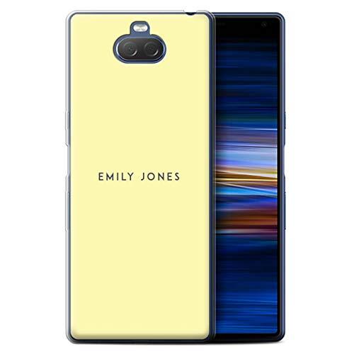eSwish persoonlijk telefoonhoesje voor Sony Xperia 10 Plus 2019 gedrukt op maat pastel stempel geel ontwerp initiële naam DIY transparante zachte Flexi gel/TPU cover