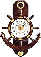 Click n Ship Plastic Pendulum Wall Clock (Brown)