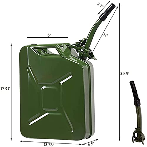 AMZOSS 20L 5 Gallon Metal Gas Can Green with Fuel Can and Spout System, US Standard Cold-Rolled Plate Petrol Diesel Can - Gasoline Bucket (13.78