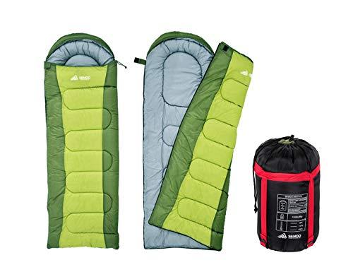 Semoo Saco de Dormir Rectangular para Adultos en Verde - Sleeping Bag para 3 Estaciones - Tamaño Compacto, Acabado Hidrófugo - 210x75 cm - Para Acampadas, Festivales y Trekking