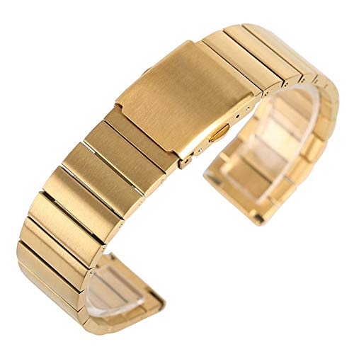 MOLUO watch band 18/20/22/24mm Fashion Stainless Steel Wristwatch Band Adjustable Watch Straps Metal Bangle Solid Link Bracelet +2 Spring Bars (Color : Gold, Size : 20mm)