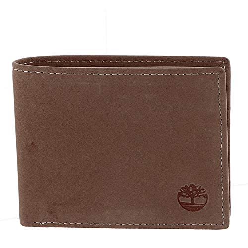 Timberland Men's Leather Wallet with Attached Flip Pocket, Brown Hunter, One Size