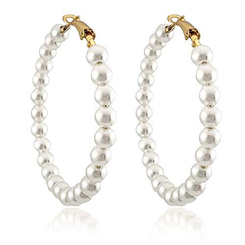 Pearl Hoop Earrings for Women Fashion Dangle Hypoallergenic Layer Earrings Drop Dangle Earrings Gifts for Women (Pearl hoop)