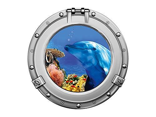 GRAZDesign Wandbild Badezimmer Delfin im Wasser, Wandsticker Bullauge Silber, Wandtattoo Unterwasser / 40x40cm