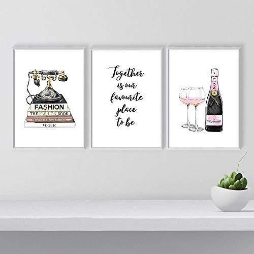 Champagne Poster e Stampe Poster di Moda Trucco Arte su Tela Pittura Parigi Vogue Libro Stampa telefonica Camera Moderna Camera Home Decor-40x60cmx3Pcs-Senza Cornice