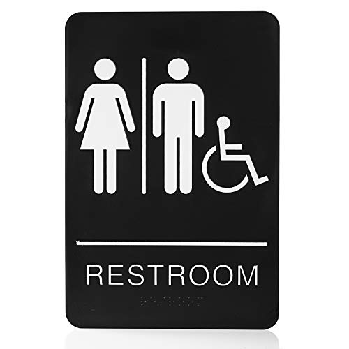 """Bebarley Self-Stick ADA Braille Unisex Restroom Signs-Bathroom Signs with Double Sided 3M Tape for Office or Business Bathroom and Toilet Door or Wall Decor 9""""X6"""""""