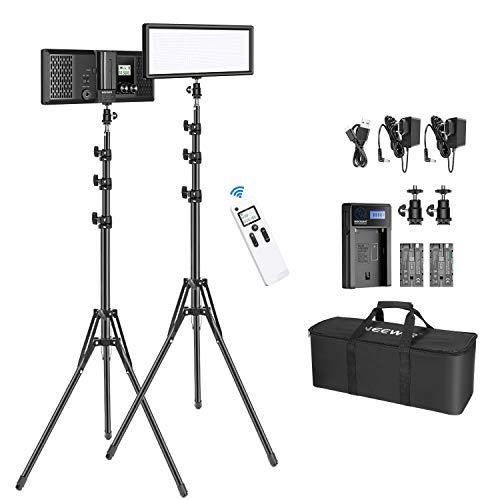 Neewer 2er Pack 2.4G T120 LED Videoleuchte Set, dimmbare zweifarbige 3200-5600K Flächenleuchte mit umkehrbarem 150cm Lichtständer/Akku/Ladegerät/Tasche für YouTube Studio Fotografie Live-Stream